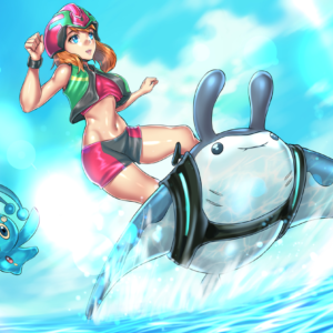 May Mantine Surfing with Manaphy REDJET Art Print